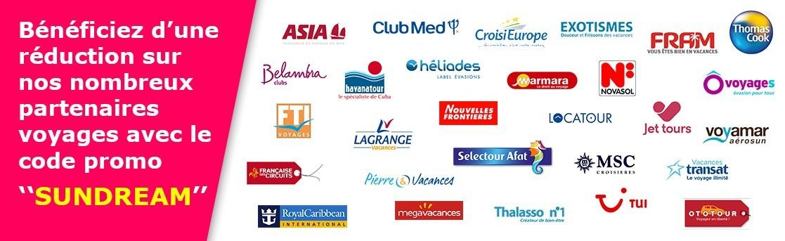 Partenaires voyages : code promo SUNDREAM